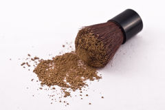 Mica Powder Cosmetics with Brush. Mica powder foundation and kabuki brush on a white background Royalty Free Stock Photos
