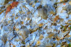 The mica sheets and quartz silicate minerals. Bare geological ro royalty free stock photography