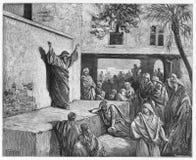 Micah de Moreshite-helderziende die aan Israelites prediken Stock Afbeeldingen