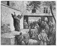 Micah the Moreshite prophet preaching to the Israelites. Picture from The Holy Scriptures, Old and New Testaments books collection published in 1885 Stock Images