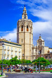 Micalet tower, Miguelete tower in Plaza de la Reina, Valencia, S. Pain, Europe royalty free stock image