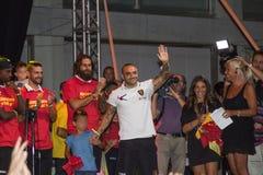 Miccoli de Fabrizio e equipa de futebol do lecce Foto de Stock