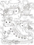 Mice adult coloring page Stock Photos