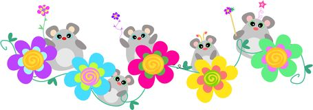 Mice Banner with Spiral Flowers Stock Images