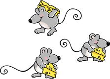 Mice Carrying Cheese Royalty Free Stock Photography