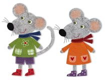 Mice, cartoon characters. Colorful felt and wool quiltting Royalty Free Stock Photography