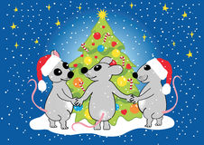 Mice celebrate Christmas, vector Stock Images