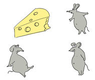 Mice and cheese. Illustration Stock Photos
