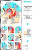 Mice and cheese visual logic puzzle. What of the 2 - 10 are not the fragments of the picture 1? Plus same task text in Russian. Answer included Royalty Free Stock Image