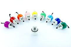 Mice color markers against the white cat Royalty Free Stock Photos