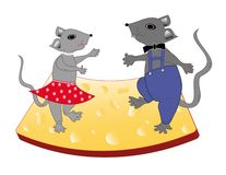 Mice dance on cheese Royalty Free Stock Image