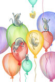 Mice flying on balloons Stock Photography