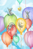 Mice flying on balloons. Five mice flying on balloons and a piece of cheese Stock Photos