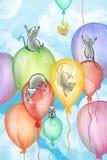 Mice flying on balloons Stock Photos