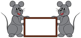 Mice frame. Two mice holding a frame to write any words you'd like Stock Images