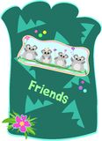 Mice Friends Pouch. Here is a colorful Pouch with a group of Mice, shapes, flowers, and the message of Friends Stock Photography