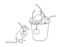 Mice Gathering Cherries Coloring Page, Hand Drawn. This is my original line drawing of two cute mice gathering cherries into an old pail.  This is a coloring Royalty Free Stock Photo
