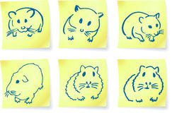 Mice and hamsters on post it notes Stock Image