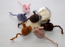 Mice handmade product, knitted rats Royalty Free Stock Photos