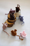 Mice handmade product, knitted rats Stock Image
