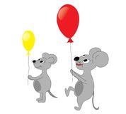 Mice holding balloons Stock Images