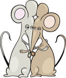 Mice in a hug. Cartoon illustration of two mice in a hug Royalty Free Stock Photography
