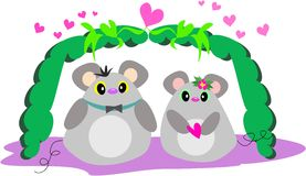 Mice in Love with Pink Hearts Stock Images