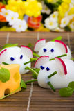 Mice made from eggs with cheese Stock Images