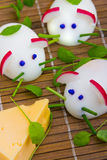 Mice made from eggs with cheese Royalty Free Stock Photo