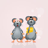 Mice marry. Cute illustration of mice marry Stock Photography