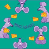 Mice. Mouse paradise,purple mice eat pieces of fried cheese,nice picture for kids stock illustration