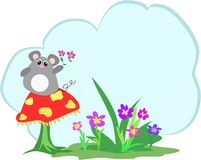 Mice, Mushroom, Flowers and Text Cloud. Here is a cute cloud text bubble surrounded by a Mouse on a Mushroom, grass, and flowers Stock Photo