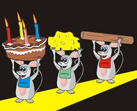 Mice and Pantry. Three mice come from the pantry and bear cake, cheese and salami Stock Photography