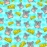 Mice pattern. Seamless pattern with cute mice and slices of cheese Royalty Free Stock Image