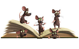 Mice reading book Stock Photo