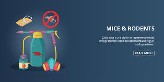 Mice and rodents banner horizontal, cartoon style Stock Photos