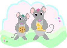 Mice with Snacks Stock Images