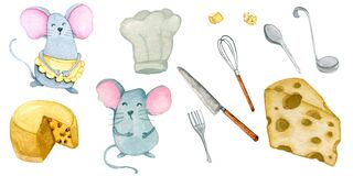 Hand painted watercolor mice and cooking stuff set