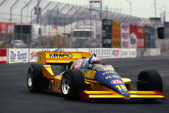 Michael Andretti Indy Car Racer. Michael Andretti racing in a Indy type car at the Meadowland New Jersey in a special track set in the parking at Giant Stadium Stock Image