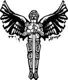 Michael Archangel. Archangel Michael in armor and sword in woodcut style image Royalty Free Stock Photos
