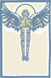 Michael Archangel Color. Archangel Michael in armor and sword in woodcut style image Stock Photo