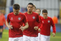 Michael Carrick e Chris Smalling Champion League FC Bruges - Manchester United Fotografia Stock