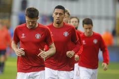 Michael Carrick en Chris Smalling Champion League FC Brugge - Manchester United Stock Fotografie