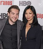 Michael Gandolfini & Deborah Lin przy dyszkanta spotkaniem obrazy royalty free