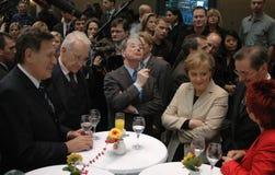 Michael Glos, Edmund Stoiber, Franz Muentefering, Angela Merkel, Matthias Platzeck Royalty-vrije Stock Afbeeldingen