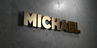 Michael - Gold sign mounted on glossy marble wall  - 3D rendered royalty free stock illustration. This image can be used for an online website banner ad or a Royalty Free Stock Image