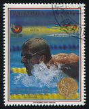Michael Gross, gold medalist at Summer Olympic Games in Seoul. RUSSIA KALININGRAD, 19 APRIL 2017: stamp printed by Paraguay, shows Michael Gross, gold medalist Stock Photo
