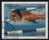 Michael Gross. RUSSIA KALININGRAD, 19 APRIL 2017: stamp printed by Paraguay, shows Michael Gross, gold medalist at Summer Olympic Games in Los-Angeles, circa stock photo