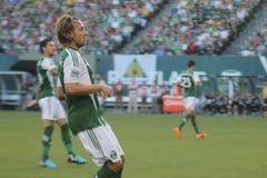 Michael Harrington playing soccer Stock Image