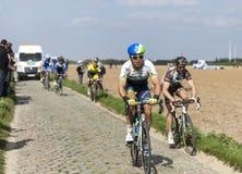 Michael Hepburn- Paris Roubaix 2014. Carrefour de l'Arbre,France-April 13,2014:The Australian cyclist Michael Hepburn from Orica GreenEdge Team riding on the Stock Photo